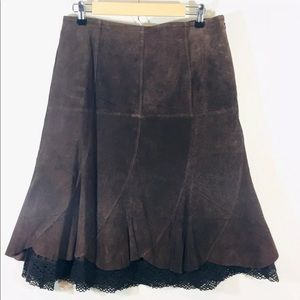 Harold's brown suede leather skirt size 10